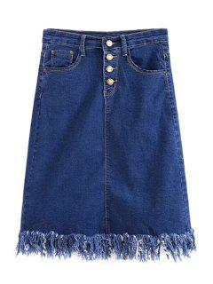 Blue Denim Tassels High Waist Midi Skirt - Blue L