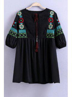 Floral Embroidery Half Sleeve Pleated Blouse - Black L