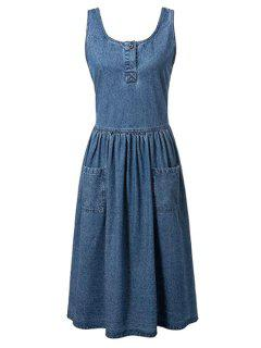 Fitting Pockets Scoop Neck Sleeveless Denim Dress - Blue L