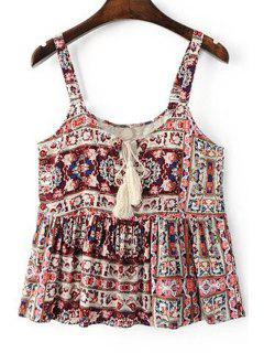 Ethnic Style Lace Spliced Spaghetti Straps Tank Top - Red L