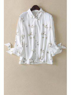 Fawn Print Shirt Collar Long Sleeve Shirt - White L