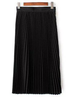 Solid Color High Waist Pleated Skirt - Black L