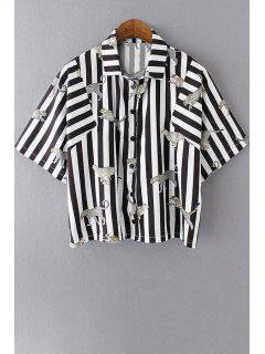 Striped Shirt Collar Half Sleeve Shirt - White And Black L