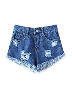 Broken Hole Tassels Solid Color Denim Shorts - Deep Blue Xl