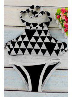 Geometric Print Halter Bikini Set - Black M