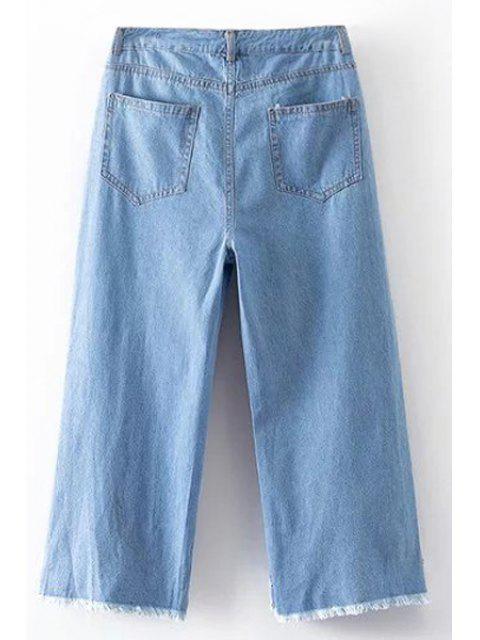 sale Broken Hole High Waist Wide Leg Jeans - LIGHT BLUE M Mobile