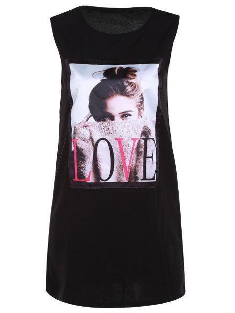 shop Figure Print Round Neck Tank Top -   Mobile