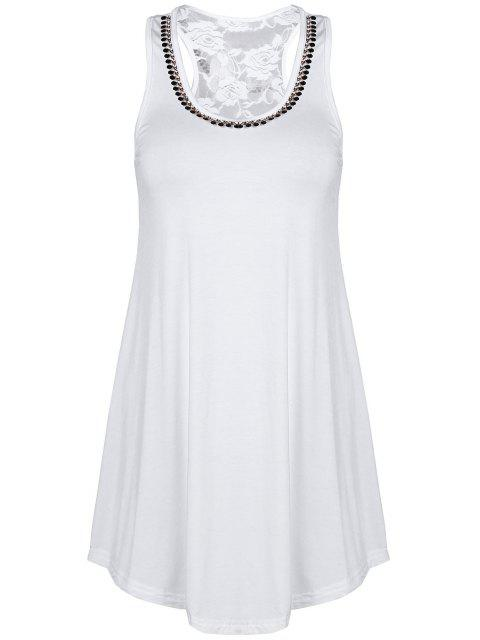 outfits Lace Spliced Rhinestone Round Neck Tank Top -   Mobile