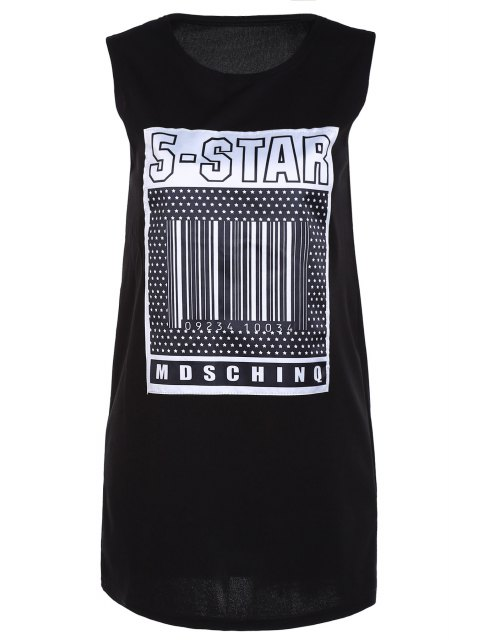best Fitting Letter Print Round Neck Tank Top - BLACK ONE SIZE(FIT SIZE XS TO M) Mobile