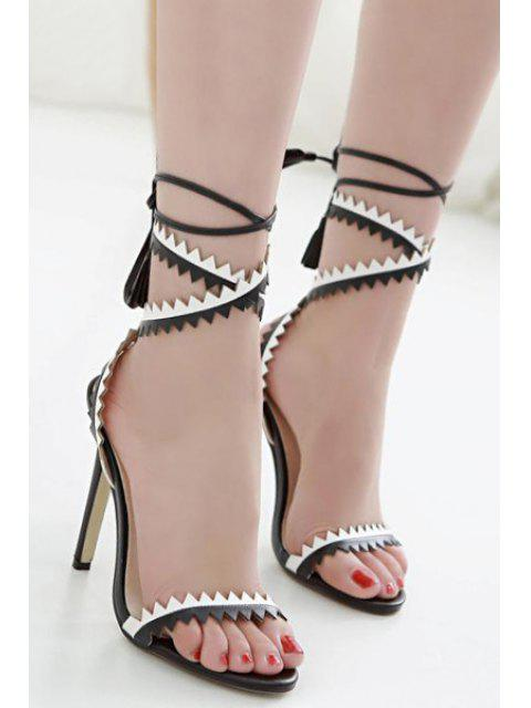 sale Zigzag Pattern Color Block Cross-Strap Sandals -   Mobile