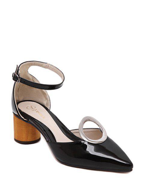 buy Ankle Strap Metal Chunky Heel Pumps -   Mobile