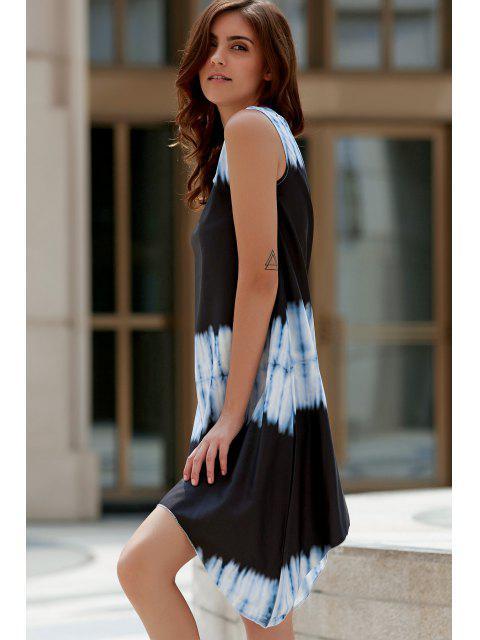women's Tie-Dyed Irregular Hem Tank Dress - WHITE AND BLACK L Mobile