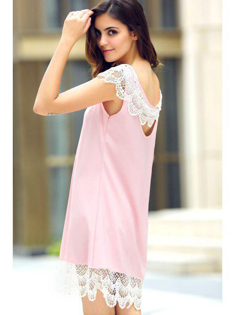 fashion Sleeveless Lace Hem Sundress - PINK S Mobile