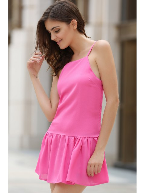 latest Solid Color Cami Ruffles Dress - PINK M Mobile