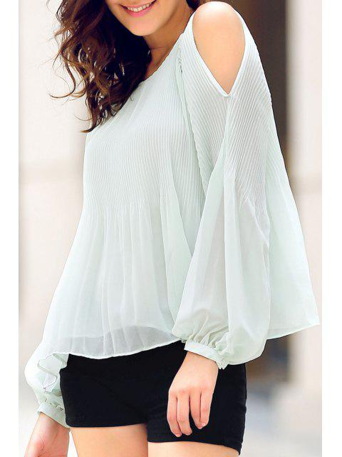 fashion Solid Color Round Neck Lantern Cold Shoulder Blouse - LIGHT GREEN M Mobile
