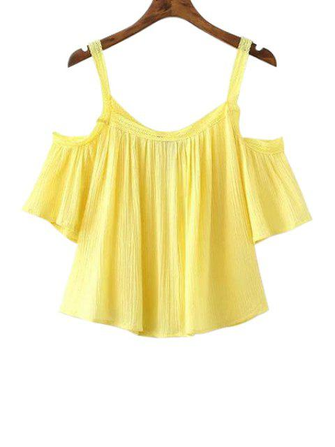 affordable Cold Shoulder Flowy Blouse - YELLOW M Mobile