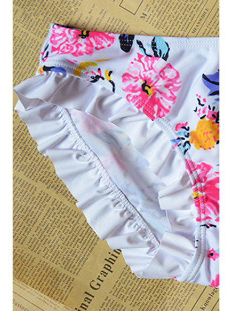 online Floral Print Frilled Bikini Set - WHITE L Mobile