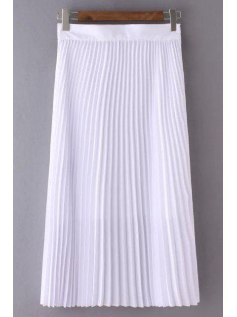 buy Solid Color High Waist Pleated Skirt - WHITE M Mobile