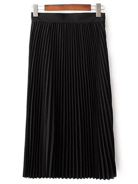 fancy Solid Color High Waist Pleated Skirt - BLACK S Mobile