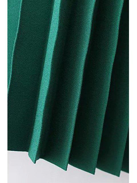 latest Solid Color High Waist Pleated Skirt - GREEN L Mobile