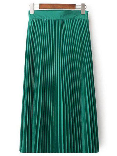 shops Solid Color High Waist Pleated Skirt - GREEN M Mobile