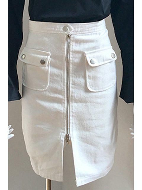 new Front Zipper Solid Color Pencil Skirt -   Mobile