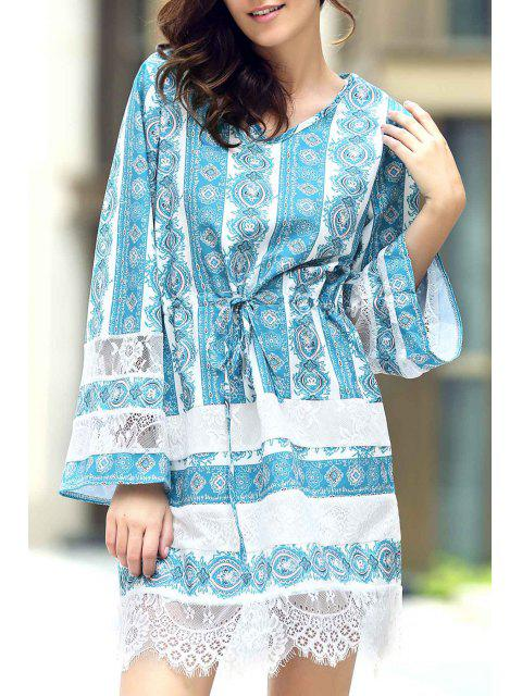 chic Loose Lace Spliced V Neck Flare Sleeve Dress - AZURE XL Mobile