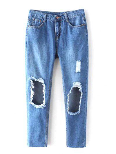Ripped Bleach Wash Jeans - Denim Blue Xl
