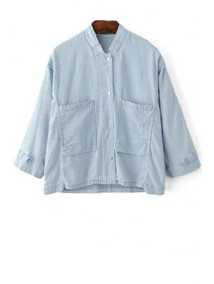 Loose Pockets Stand Collar 3/4 Sleeve Denim Shirt - Light Blue L