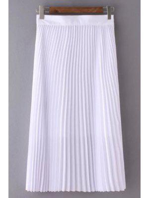 Color Sólido De Cintura Alta Falda Plisada - Blanco M