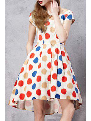 Polka Dot Scoop Neck Short Sleeve A Line Dress - M