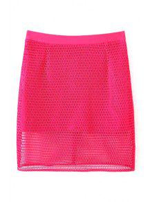 Solide Couleur Taille Haute Mesh Skirt - Rose L