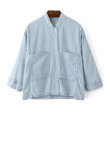 Loose Pockets Stand Collar 3/4 Sleeve Denim Shirt - Light Blue M