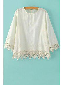 Embroidery Lace Spliced Round Neck 3/4 Sleeve Blouse - Off-white S
