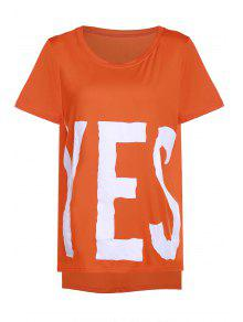 YES Print High Low T-Shirt - Orange