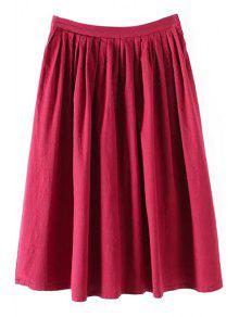 Solid Color High Waist A-Line Pleated Skirt - Red M