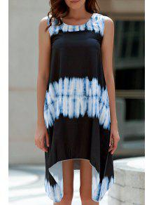 Tie-Dyed Irregular Hem Tank Dress - White And Black L