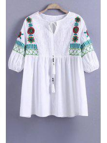 Floral Embroidery Half Sleeve Pleated Blouse - White M
