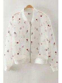Embroidery See-Through Stand Neck Long Sleeve Blouse - White Xs