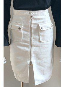 Front Zipper Solid Color Pencil Skirt - White M