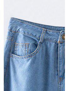 Hohe Taille Jeans mit weitem Bein und gebrochenem Loch