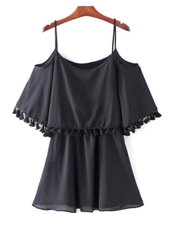 latest Tassel Cold Shoulder Popover Overlay Slip Dress - BLACK L