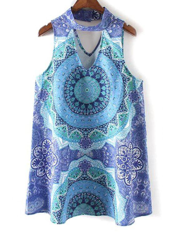 outfit Retro Printed Stand Neck Sleeveless Dress - BLUE L