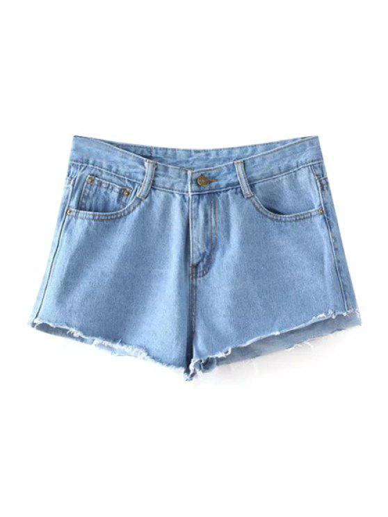 La luz verde del blanqueo de lavado de mitad de la cintura pantalones cortos de mezclilla - Azul Claro M