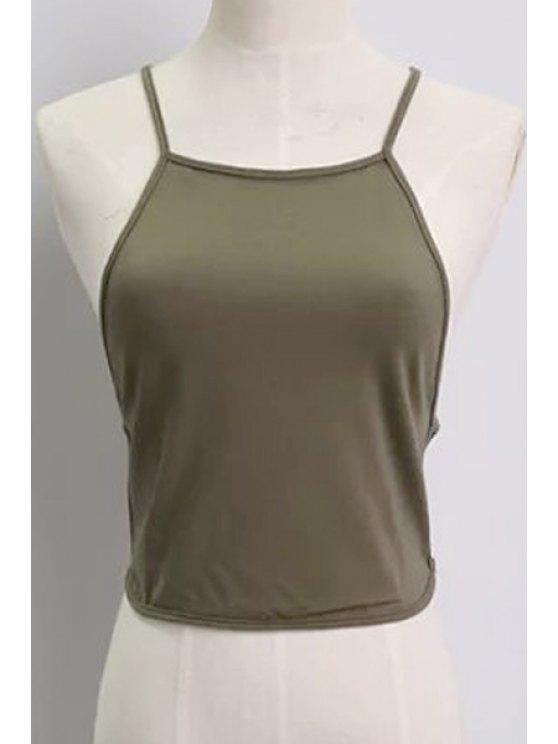 women Solid Color Backless Spaghetti Straps Tank Top - ARMY GREEN ONE SIZE(FIT SIZE XS TO M)
