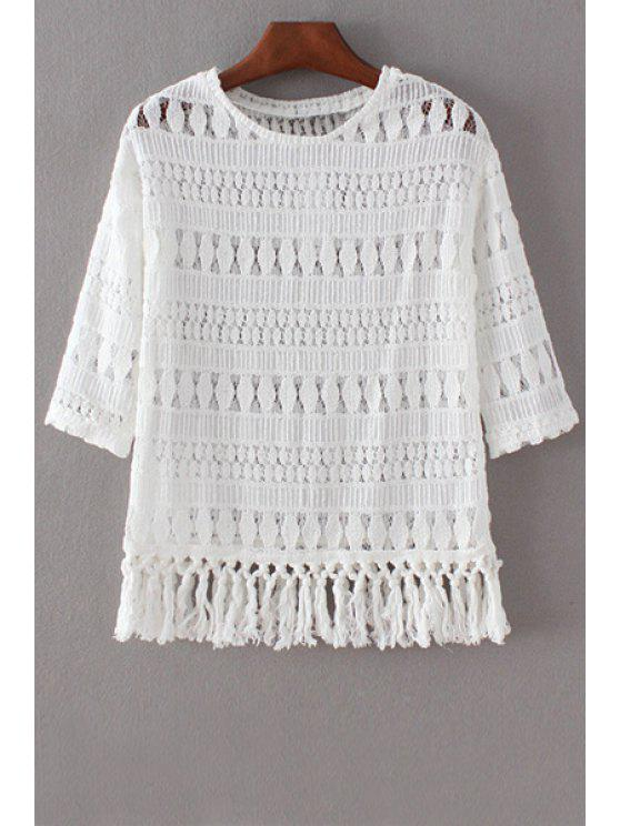 buy Hollow Out Round Collar 3/4 Sleeve Lace T-Shirt - WHITE S
