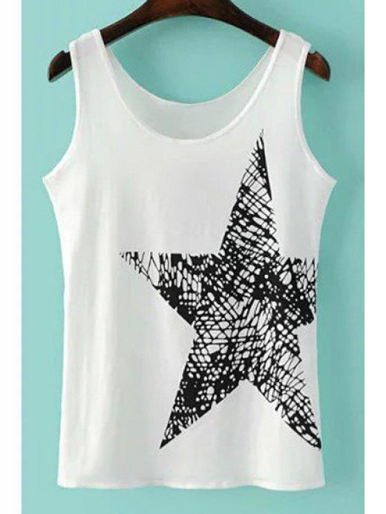 Pentagrama de impresión con cuello redondo sin mangas - Blanco S
