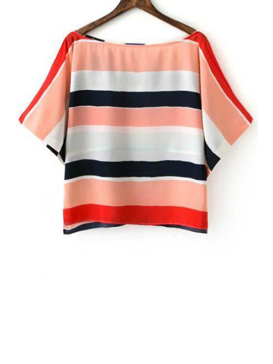 Striped Slash Neck Half Sleeve Blouse - COLORMIX S