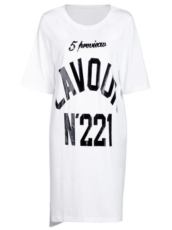 Imprimir el número de cuello redondo manga corta de la camiseta - Blanco Un tamaño(Montar tam