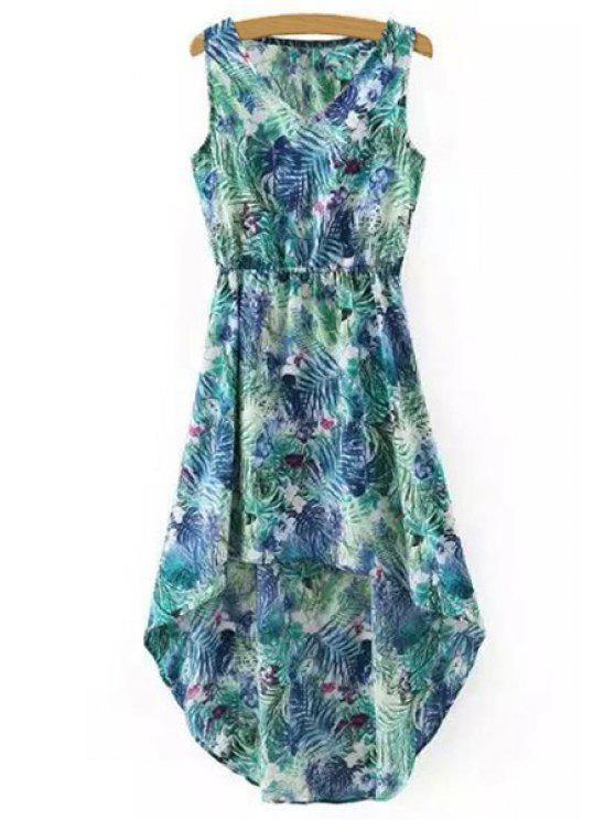 lady Hawaiian Leaf Print High-Low V Neck Sleeveless Dress - GREEN S